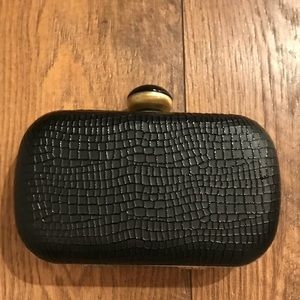 Handbags - Black Lizard Print Box Clutch